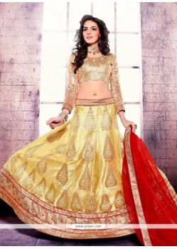 Majestic Net Gold Embroidered Work A Line Lehenga Choli