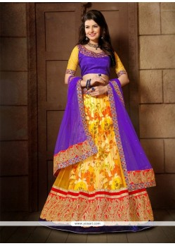 Dainty Yellow Embroidered Work Net A Line Lehenga Choli
