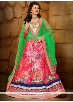 Marvelous Net Print Work A Line Lehenga Choli