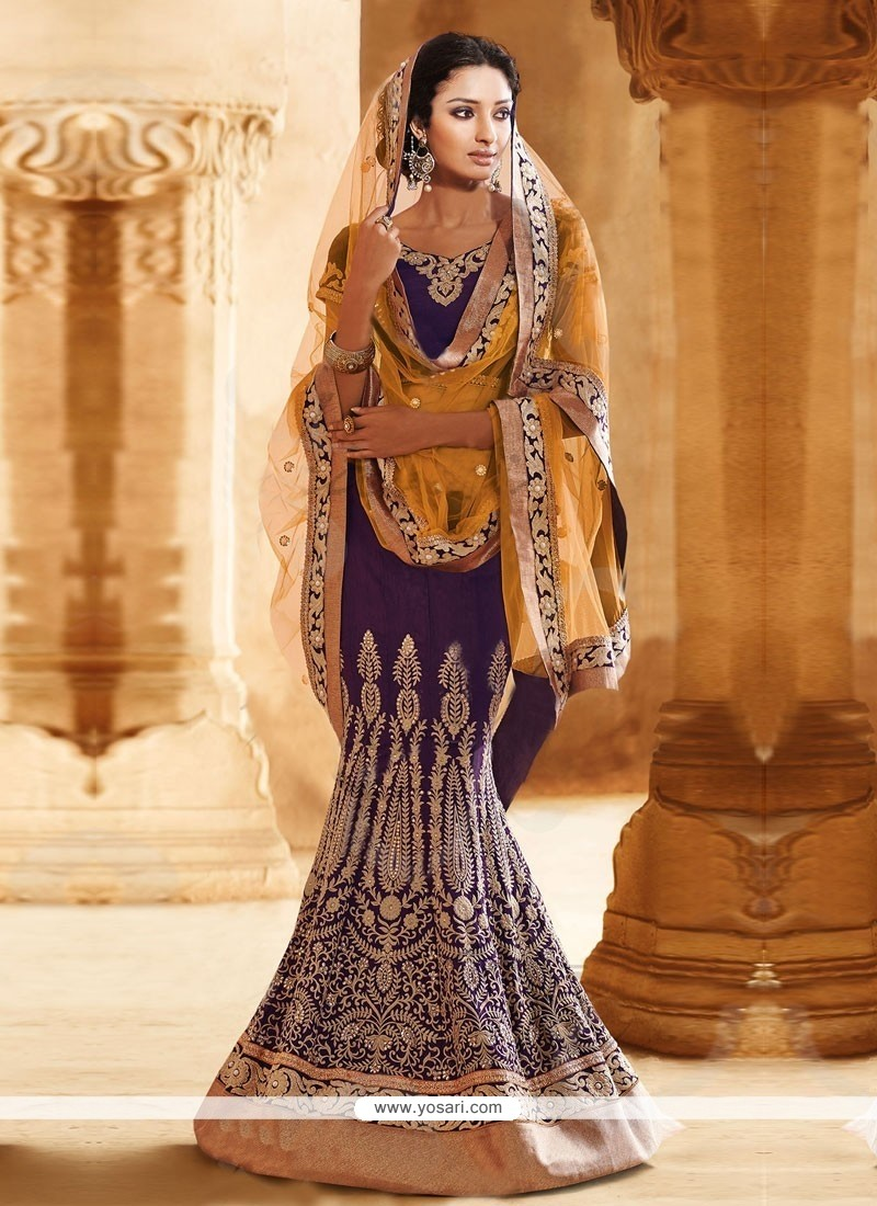 Purple And Orange Bhagalpuri Silk Lehenga Saree