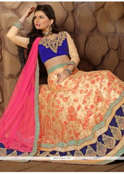 Paramount Peach Patch Border Work A Line Lehenga Choli