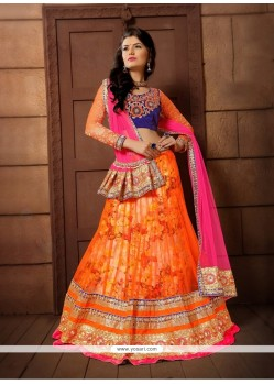 Intrinsic Net Orange A Line Lehenga Choli