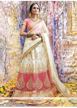 Specialised Net Rose Pink And White A Line Lehenga Choli