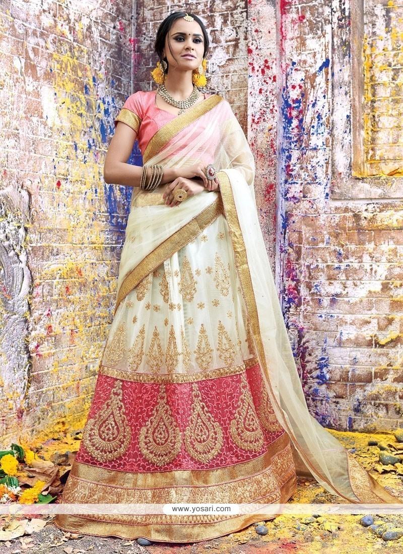Specialised Net Rose Pink And White A Line Lehenga Choli