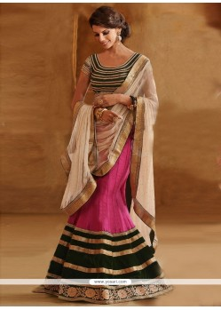 Incredible Pink And Cream Faux Chiffon Lehenga Saree