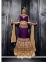 Mystical Purple Patch Border Work Fancy Fabric A Line Lehenga Choli