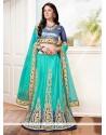Topnotch Fancy Fabric Turquoise A Line Lehenga Choli
