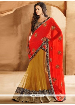 Mustard And Red Net Lehenga Saree
