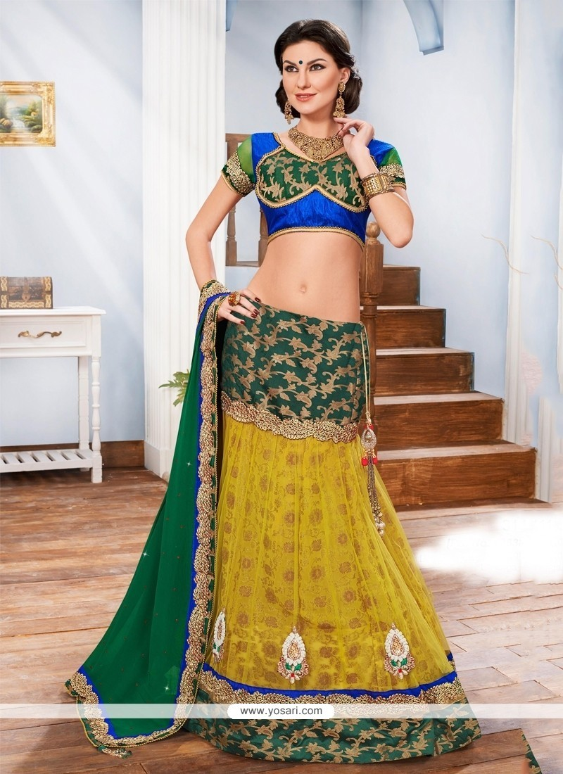 Urbane Embroidered Work Multi Colour A Line Lehenga Choli