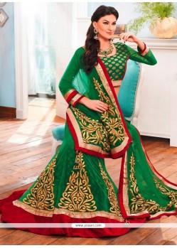 Irresistible Net Green A Line Lehenga Choli