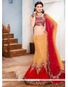 Talismanic Fancy Fabric Red A Line Lehenga Choli