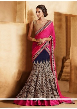 Hot Pink And Blue Faux Chiffon Lehenga Saree