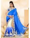 Versatile Patch Border Work Blue And Cream A Line Lehenga Choli