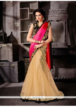 Catchy Fancy Fabric Beige Embroidered Work A Line Lehenga Choli