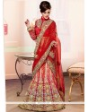 Perfervid Fancy Fabric Red Patch Border Work A Line Lehenga Choli