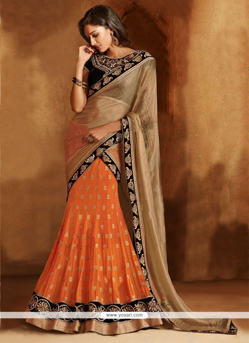 Orange And Beige Faux Chiffon Lehenga Saree