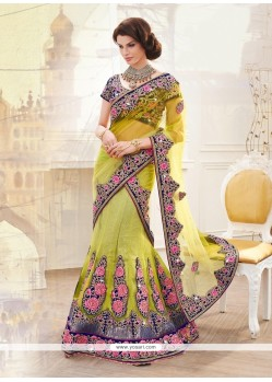 Glorious Net Yellow A Line Lehenga Choli