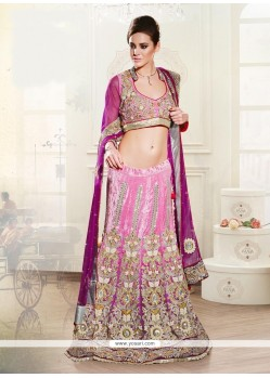 Fascinating Net Embroidered Work A Line Lehenga Choli