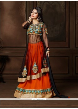Sonorous Black And Orange Patch Border Work Georgette A Line Lehenga Choli
