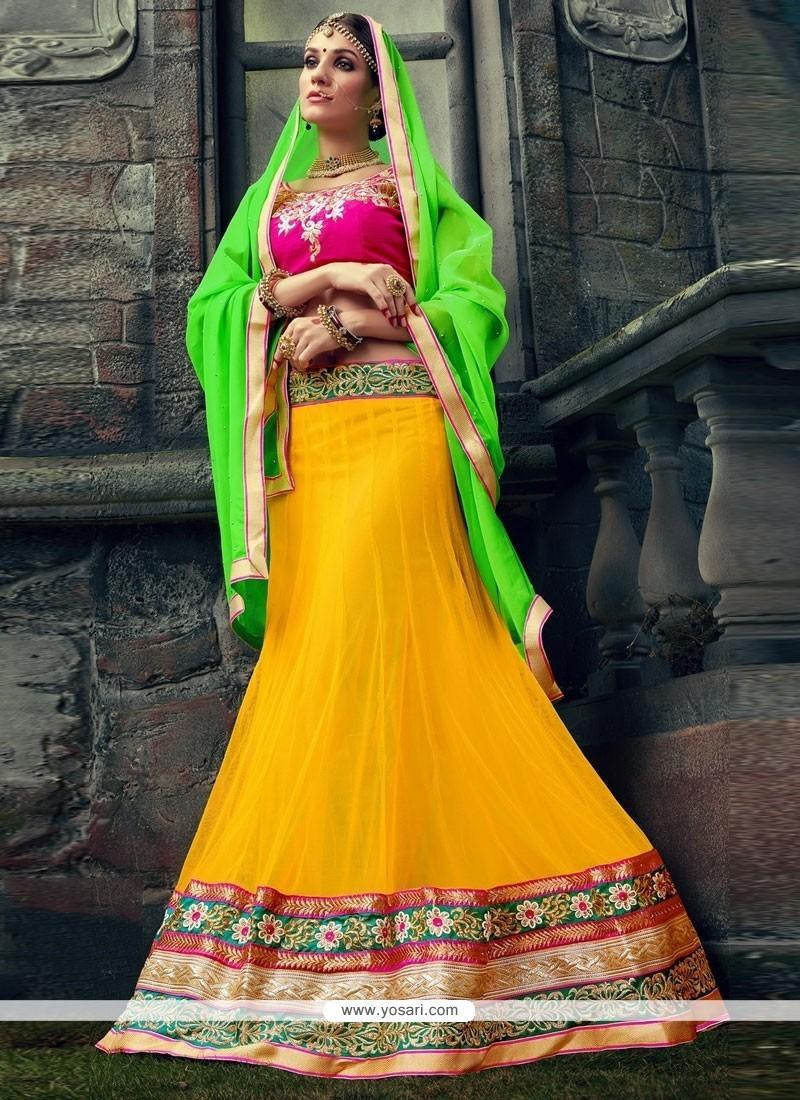 Celestial Yellow Embroidered Work Velvet Designer Lehenga Choli