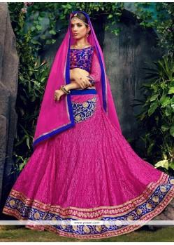 Monumental Patch Border Work Pink Designer Lehenga Choli