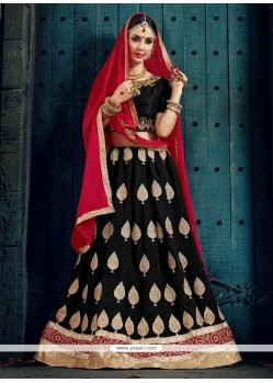 Stunning Black Patch Border Work Designer Lehenga Choli