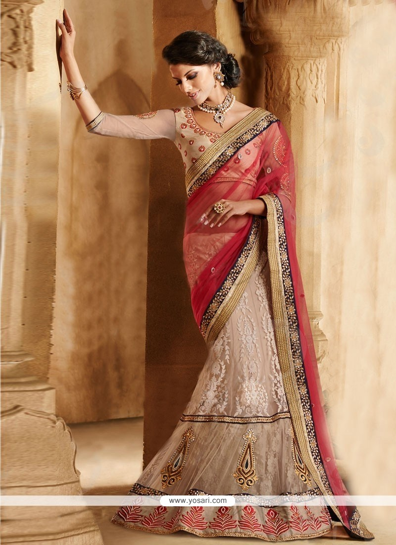 Luxurious Red And Cream Net Bridal Lehenga Saree