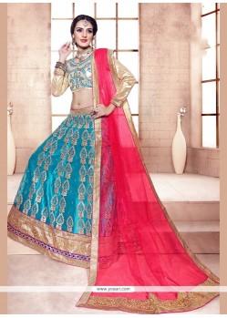 Adorning Turquoise Net A Line Lehenga Choli