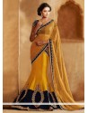 Markable Mustard And Blue Georgette Lehenga Saree