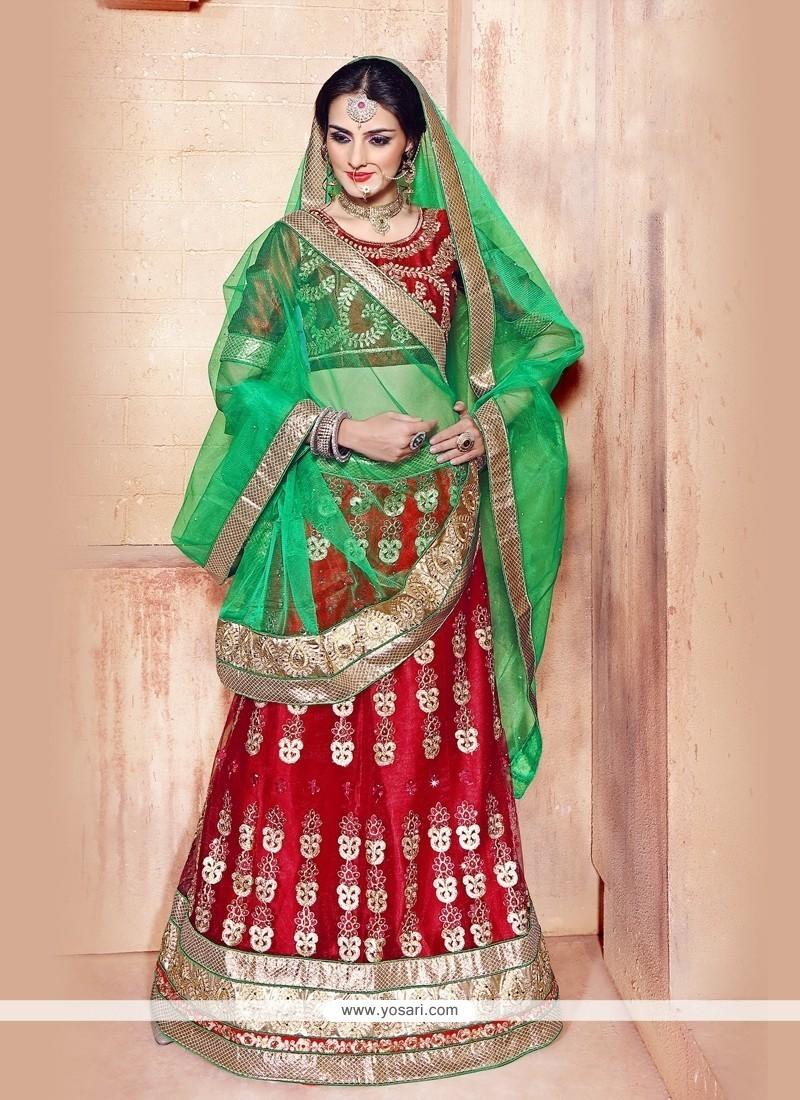 Fabulous Red Satin A Line Lehenga Choli