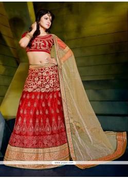 Flamboyant Net Red A Line Lehenga Choli