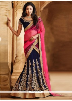 Blue And Pink Velvet Zari Lehenga Saree
