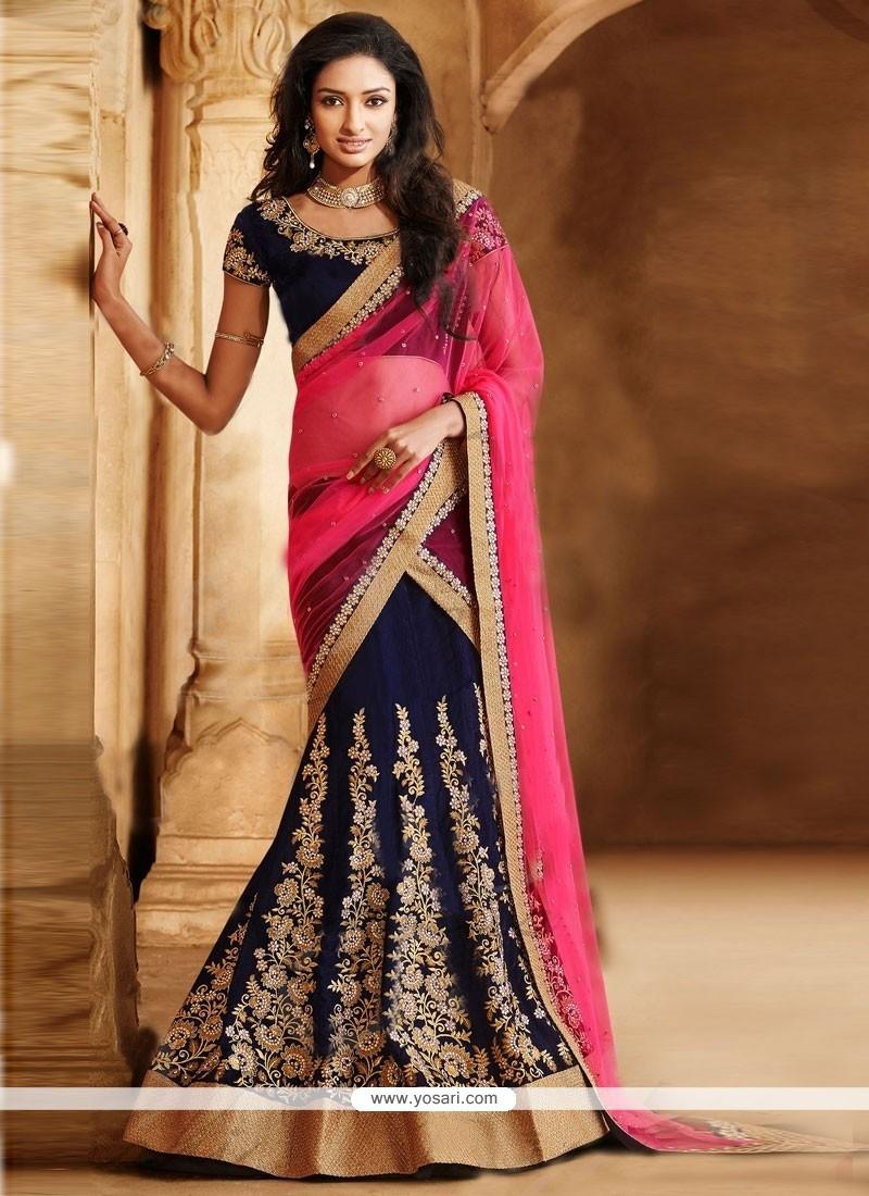 Blue And Pink Velvet Zari Lehenga Saree