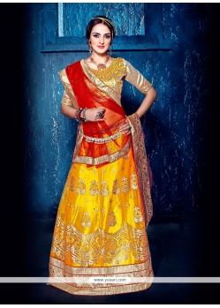 Royal Embroidered Work Yellow A Line Lehenga Choli