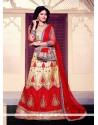 Prominent Embroidered Work Gold And Red A Line Lehenga Choli