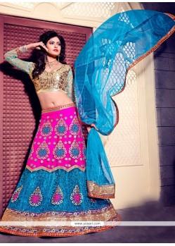 Majesty Embroidered Work Blue And Pink A Line Lehenga Choli