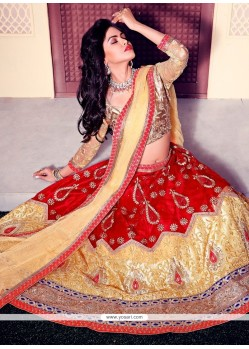 Vehemently Gold And Red Embroidered Work Satin A Line Lehenga Choli