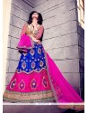 Gilded Patch Border Work Blue And Hot Pink A Line Lehenga Choli