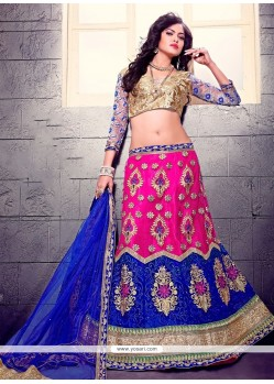 Graceful Blue And Pink Patch Border Work A Line Lehenga Choli