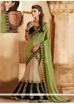 Green And Cream Zari Velvet Lehenga Saree