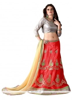 Fabulous Red Embroidered Work Net A Line Lehenga Choli