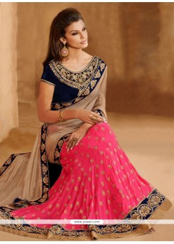 Pink And Beige Faux Georgette Lehenga Saree