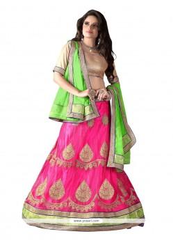 Modest Pink Net A Line Lehenga Choli