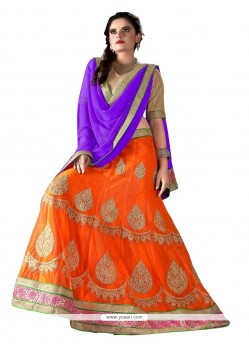 Ideal Orange Net A Line Lehenga Choli