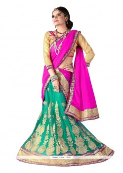 Baronial Net Sea Green Embroidered Work A Line Lehenga Choli