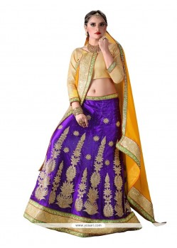 Surpassing Net Purple A Line Lehenga Choli