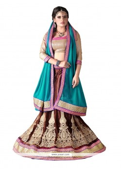 Eye-catchy Net Patch Border Work A Line Lehenga Choli