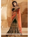 Peach And Green Velvet Net Lehenga Saree