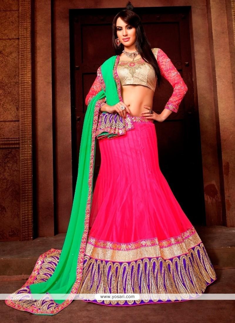 Pretty Hot Pink A Line Lehenga Choli