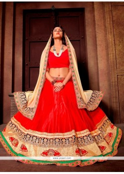 Exotic Red Embroidered Work A Line Lehenga Choli